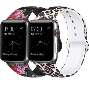 2 Pack Sport Band Apple Watch Soft Silicon
